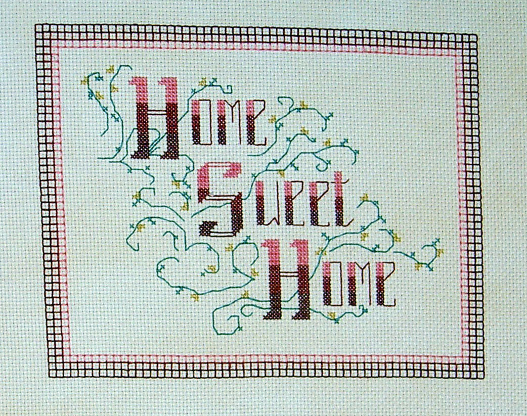finished Home Sweet Home cross stitch project